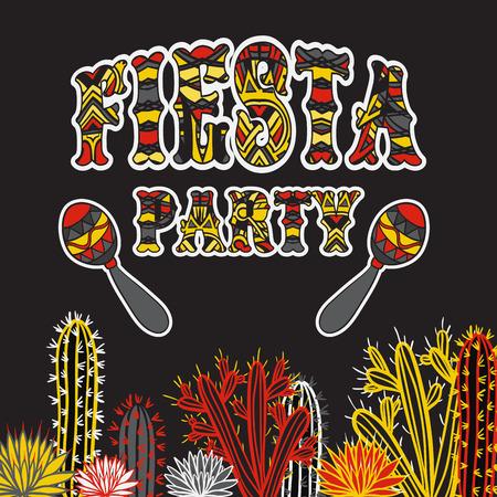 マラカス、サボテンとカラフルな民族部族華やかなタイトルをメキシコ フィエスタ パーティーの案内状グランジ背景手描き下ろしイラスト ポスタ