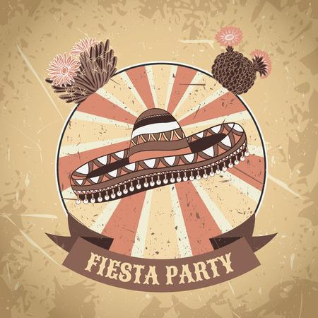 ソンブレロとサボテンのメキシコのフィエスタ パーティー ラベル。手は、グランジ背景ベクトル イラスト ポスターを描かれました。チラシやグリ
