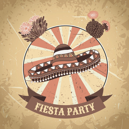 Mexican Fiesta Party label with sombrero and cactuses. Hand drawn vector illustration poster with grunge background. Flyer or greeting card template