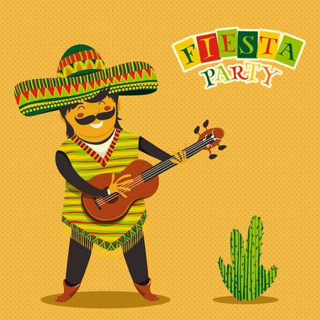 guitarra: Invitación de la fiesta Fiesta mexicana con hombre mexicano tocando la guitarra en un sombrero y cactuse. Dibujado a mano ilustración del cartel. Folleto o tarjeta de felicitación de la plantilla