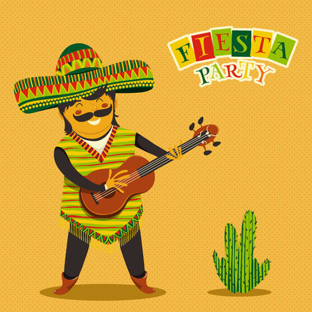Mexican Fiesta Party Invitation with Mexican man playing the guitar in a sombrero and cactuse. Hand drawn illustration poster. Flyer or greeting card template