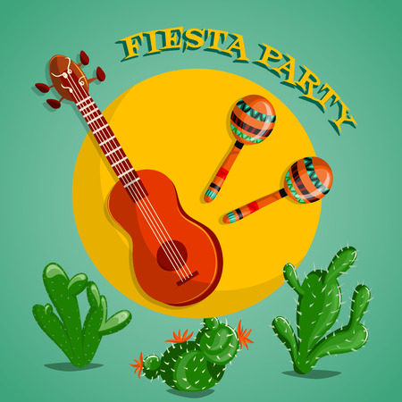 Mexican Fiesta Party poster with maracas, mexican guitar and cactuses. Flyer or greeting card template
