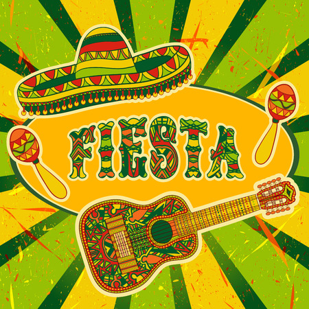 Mexican Fiesta Party Invitation with maracas, sombrero and guitar. Hand drawn illustration poster with grunge background