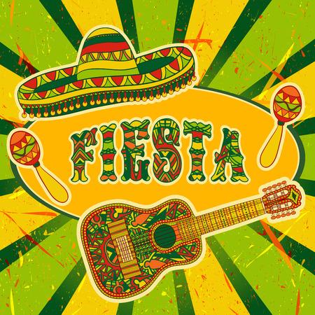 Invitation mexicaine Party Fiesta avec maracas, sombrero et guitare. Tiré par la main affiche illustration avec grunge Banque d'images - 43853165
