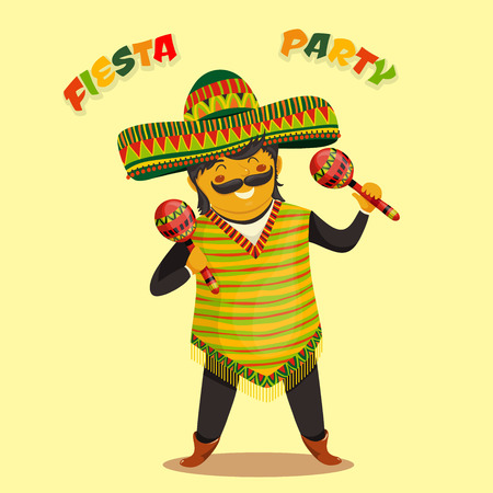 mexicans: Mexican Fiesta Party Invitation with Mexican man playing the maracas in a sombrero. Hand drawn illustration poster. Flyer or greeting card template
