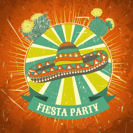 Mexicaanse Fiesta Party label met sombrero en cactussen. Hand getrokken vector illustratie poster met grunge achtergrond. Flyer of wenskaartsjabloon