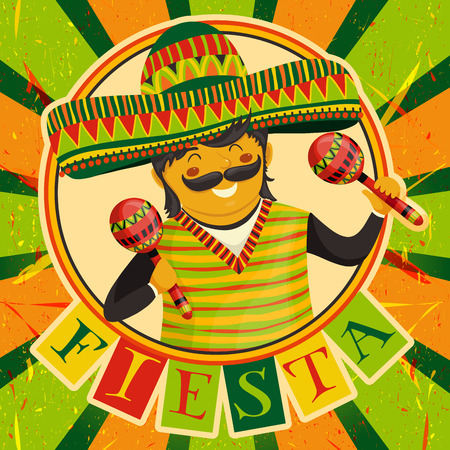 Mexican Fiesta Party Invitation with Mexican man playing the maracas in a sombrero. Hand drawn illustration poster. Flyer or greeting card template