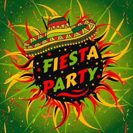Mexicaanse Fiesta Party label met sombrero en confetti. Hand getrokken illustratie poster met grunge achtergrond. Flyer of wenskaartsjabloon