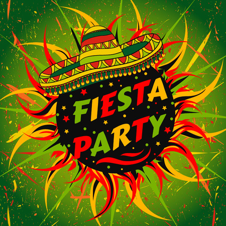 hispanic: Mexican Fiesta Party label with sombrero and confetti. Hand drawn illustration poster with grunge background. Flyer or greeting card template Illustration