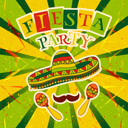 Mexican Fiesta Party Invitation with maracas, sombrero and mustache. Hand drawn illustration poster with grunge background Ilustracja