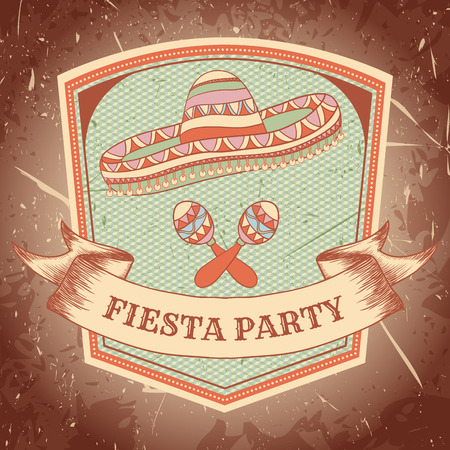 Mexican Fiesta Party label with maracas, sombrero. Hand drawn illustration poster with grunge background. Flyer or greeting card template