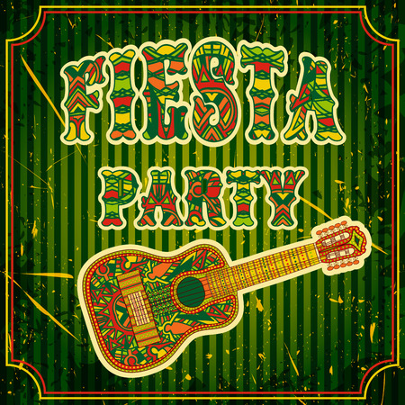 fiesta: Mexican Fiesta Party Invitation with mexican guitar and colorful ethnic tribal ornate title. Hand drawn illustration poster with grunge background. Flyer or greeting card template