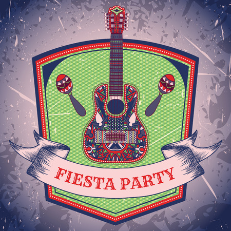 Mexican Fiesta Party label with maracas and mexican guitar .Hand drawn vector illustration poster with grunge background. Flyer or greeting card template