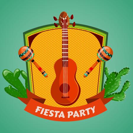 Cartel del partido Fiesta mexicana con maracas, guitarra mexicana y cactus. Folleto o plantilla de la tarjeta de felicitación. Ilustración vectorial