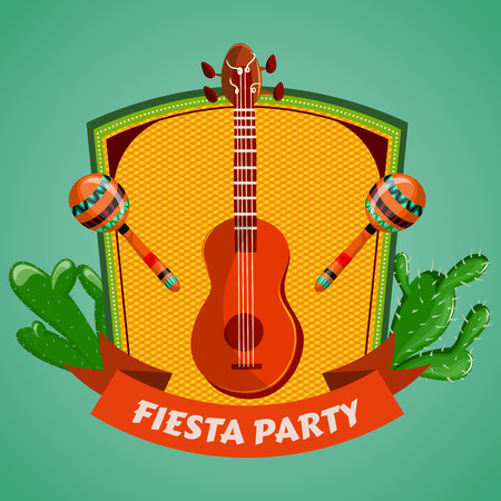 Mexican Fiesta Party poster with maracas, mexican guitar and cactuses. Flyer or greeting card template. Vector illustration