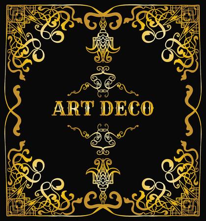 twenties: art deco border. Retro vector illustration template. Vintage wedding invitation card