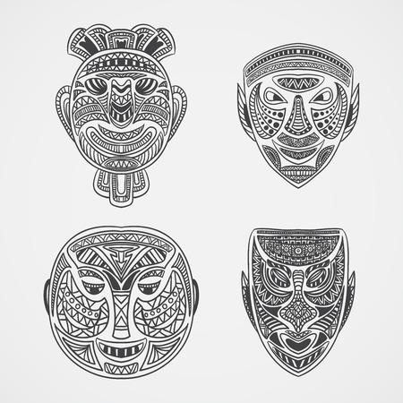cultura maya: Colecci�n de m�scara tribal. Ilustraci�n retro dibujado a mano de vector Vectores