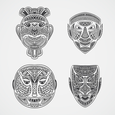 black mask: Collection of Tribal mask. Retro hand drawn vector illustration
