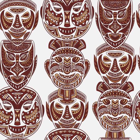 maschera tribale: seamless con raccolta di maschera tribale. Retro illustrazione vettoriale mano disegnato