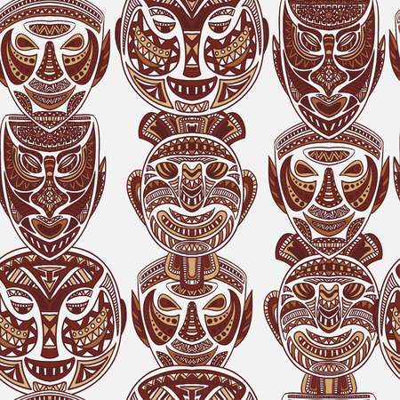 tiki head: seamless pattern with collection of Tribal mask. Retro hand drawn vector illustration