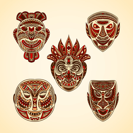 tiki head: Collection of Tribal mask. Retro hand drawn vector illustration