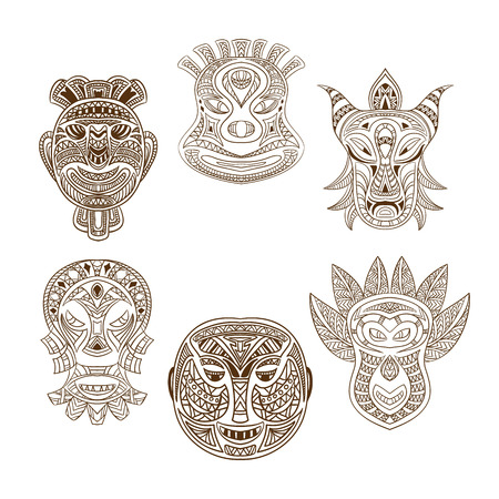 Collection of Tribal mask. Retro hand drawn vector illustration