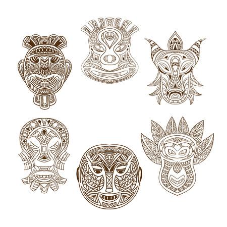 maschera tribale: Raccolta di maschera tribale. Retro illustrazione vettoriale mano disegnato Vettoriali