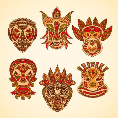 tiki head: Collection of Tribal mask. Retro hand drawn vector illustration