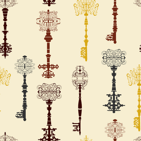 antique keys: Set of antique keys seamless pattern. Vintage vector illustration collection.
