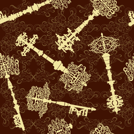 antique keys: Set of antique keys seamless pattern. Vintage vector illustration collection.Elegant luxury texture for wallpapers, backgrounds and page fill.