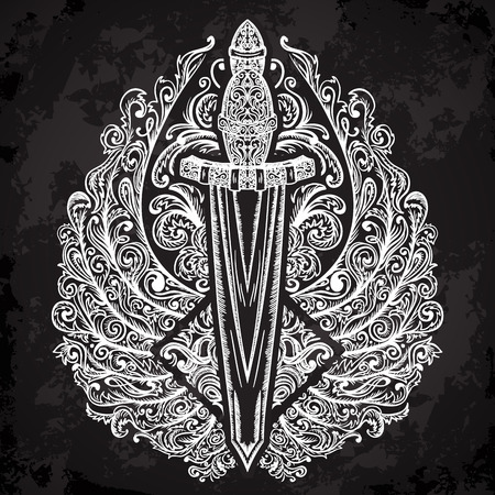 espadas medievales: espada medieval y las alas adornadas en fondo negro. Vintage mano muy detallado floral dibujado ilustraci�n. Elementos aislados. Motif victoriana. Dise�o de tatuaje