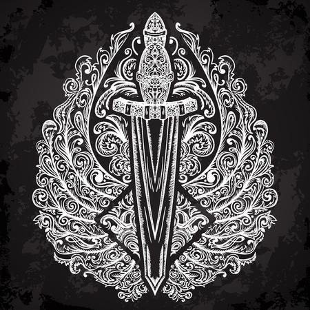 engel tattoo: mittelalterlichen Schwert und verzierten Fl�gel auf schwarzem Hintergrund. Vintage floral sehr detaillierte Hand gezeichnet Illustration. Isolierte Elemente. Victorian Motif. Tattoo-Design Illustration