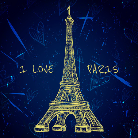 i love paris: Vintage poster with Eiffel Tower on the grunge background. Retro hand drawn illustration in sketch style I love Paris