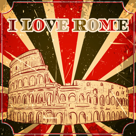 roman empire: Vintage poster with Colosseum on the grunge background. Retro hand drawn vector illustration in sketch style I love Rome