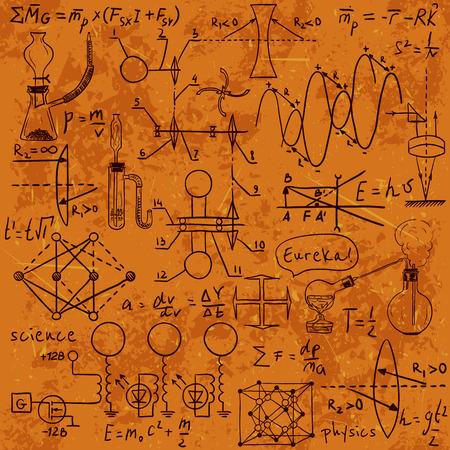 物理の数式、グラフィック、黒板上の科学的な計算。ヴィンテージ手描き下ろしイラスト研究室
