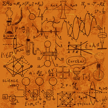 Physical formulas, graphics and scientific calculations on chalkboard. Vintage hand drawn illustration laboratory
