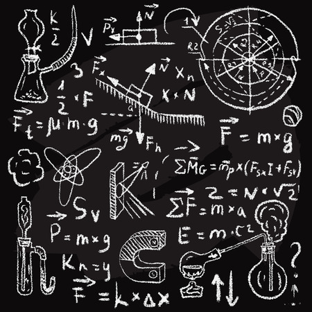 graph theory: Physical formulas, graphics and scientific calculations on chalkboard. Vintage hand drawn illustration laboratory seamless pattern Illustration