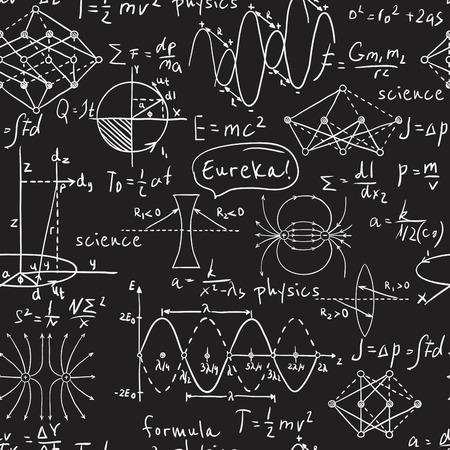 Fórmulas físicas, gráficos y cálculos científicos en la pizarra. Mano de la vendimia de laboratorio ilustración dibujados patrón transparente