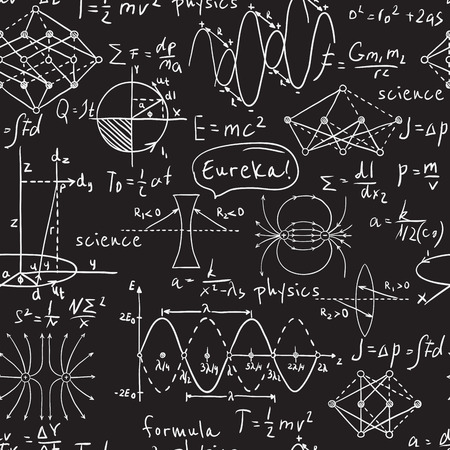 Physical formulas, graphics and scientific calculations on chalkboard. Vintage hand drawn illustration laboratory seamless pattern Vettoriali