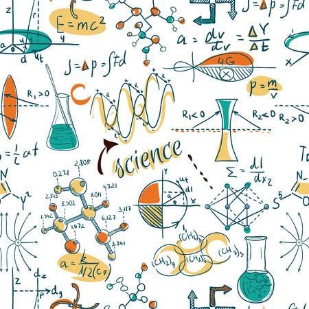 Terug naar school: wetenschap lab objecten doodle vintage stijl schetst naadloze patroon, vector illustratie.