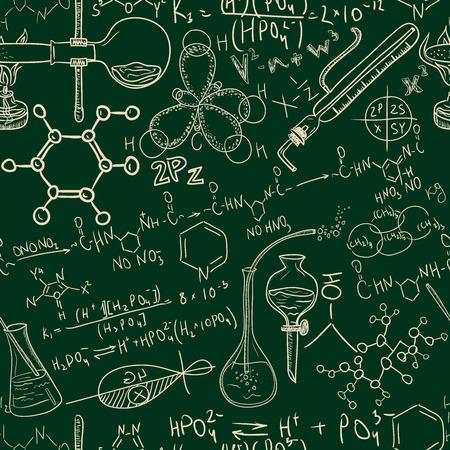 Old chemistry laboratory seamless pattern Vintage vector