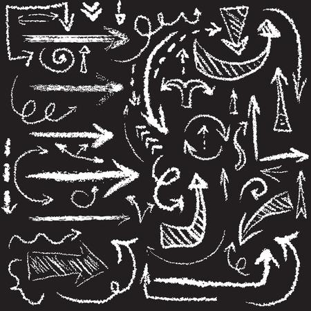 Vector hand getrokken artistieke krijt pijl in grunge manier voor web of infographic ontwerp