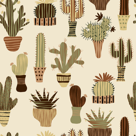 Flat seamless pattern with succulent plants and cactuses in pots. Vector botanical graphic set with cute florals. Ilustracja