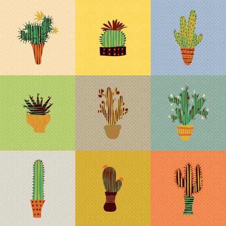 多肉植物とサボテンのポットでのフラット カラフルなイラスト  イラスト・ベクター素材