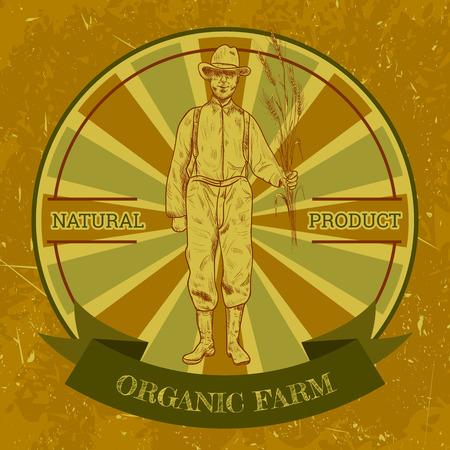 agricultor: etiqueta de la vendimia granja orgánica con agricultores. Mano vector dibujado