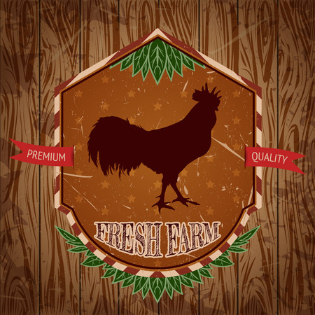 cock hand: organic farm vintage label with chicken cock. Hand drawn vector illustration in sketch style