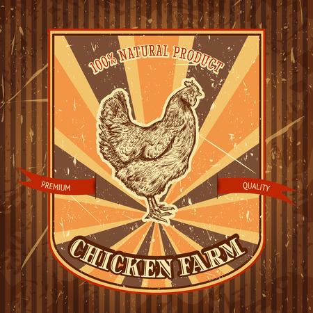 biologische kippenboerderij vintage label met kip op de grunge achtergrond. Retro hand getekende vector illustratie poster in schets stijl
