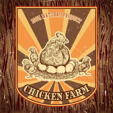 gallina con huevos: etiqueta org�nica vendimia granja de pollos con la gallina con los pollitos en el fondo del grunge. Retro dibujado a mano ilustraci�n vectorial cartel en el estilo de dibujo