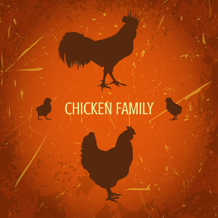 brood: organic farm vintage poster with silhouettes family chicken: cock, hen with chickens.