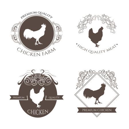 鶏およびオンドリのファーム ロゴ エンブレム カリグラフィの装飾的な要素を設定します。自然と新鮮なファーム。レトロな株式ベクトル図  イラスト・ベクター素材